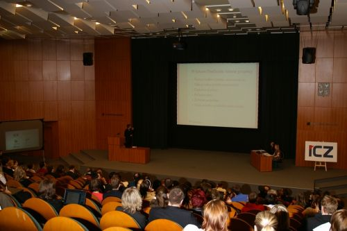 Author speaking at the project management conference at Tomas Bata University in Zlín, 2008
